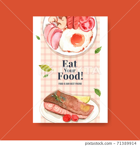 Poster with world food day concept design for advertise and leaflet watercolor vector 71389914
