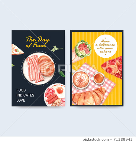 Menu template with world food day concept design for restaurant and food shop watercolor vector 71389943