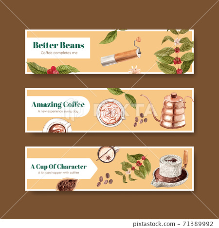 Banner with international coffee day concept design for advertise and marketing watercolor vector 71389992