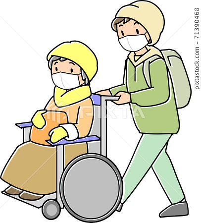 재해에 빨리 휠체어 대피소에 대피하는 노인 71390468
