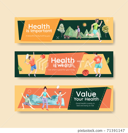 Banner template with world mental health day concept design for advertise and leaflet watercolor vector 71391147