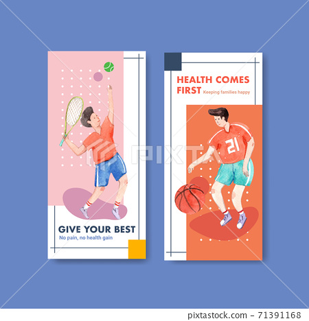 Banner template with world mental health day concept design for advertise and leaflet watercolor vector 71391168