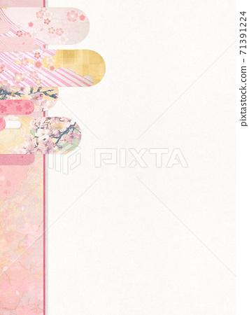 종이의 감촉을 느낄 배경 소재 봄, 벚꽃의 계절 [4 : 3] 71391224