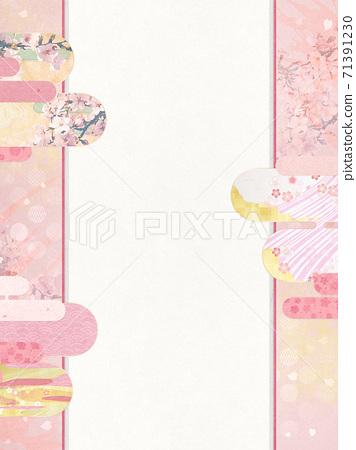 종이의 감촉을 느낄 배경 소재 봄, 벚꽃의 계절 [4 : 3] 71391230