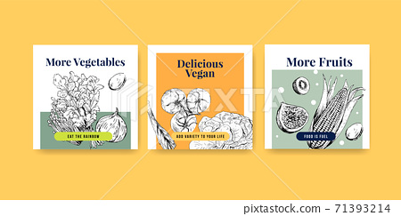 Advertise template with vegan food concept design for marketing watercolor vector illustration. 71393214