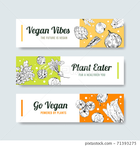 Banner template with vegan food concept design for advertise and marketing watercolor vector illustration. 71393275