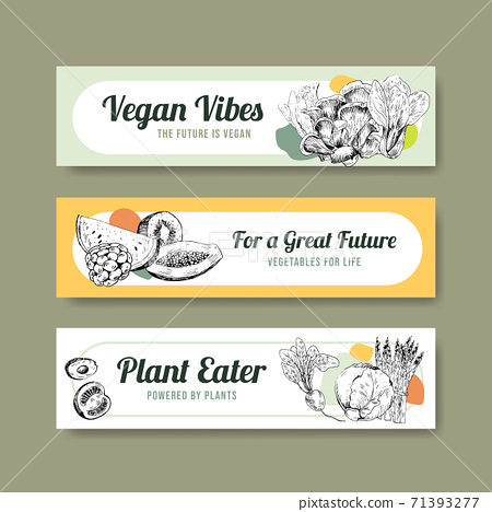 Banner template with vegan food concept design for advertise and marketing watercolor vector illustration. 71393277