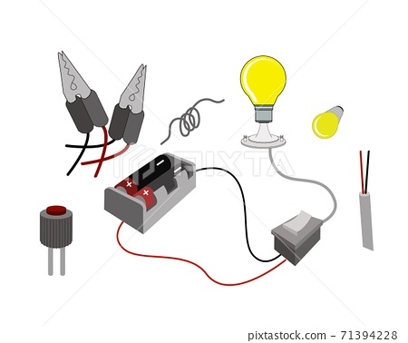 The Circuit or Working Principl of Light Bulbs with Battery 71394228