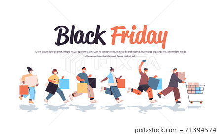 mix race people in protective masks running with shopping bags black friday big sale coronavirus quarantine 71394574