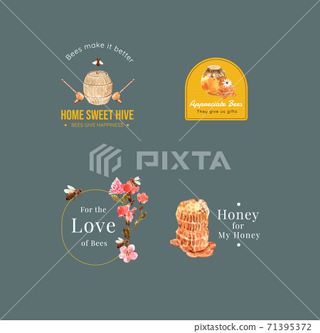 Logo with honey concept design for branding and marketing watercolor vector illustration 71395372