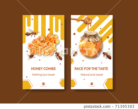 Instagram template with honey concept design for socail media watercolor vector illustration 71395383