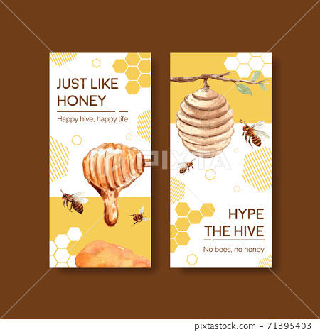 Flyer template with honey concept design for brochure and leaflet watercolor vector illustration 71395403