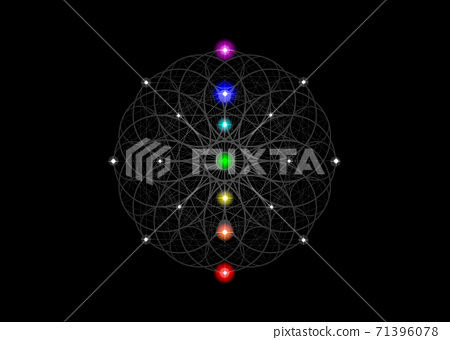 Seed of life symbol Sacred Geometry. Esoteric Flower of Life and colorful Seven chakras. Geometric mystic alchemy mandala for spiritual meditation. Vector isolated on black background 71396078