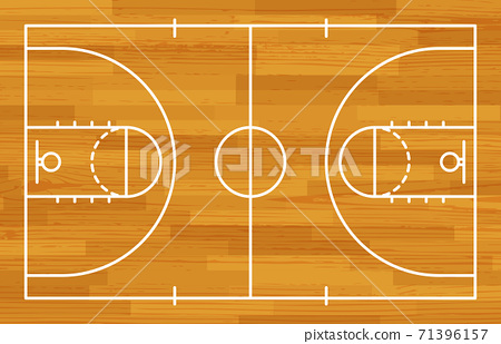 Basketball fireld with markings and wood texture. Vector 71396157