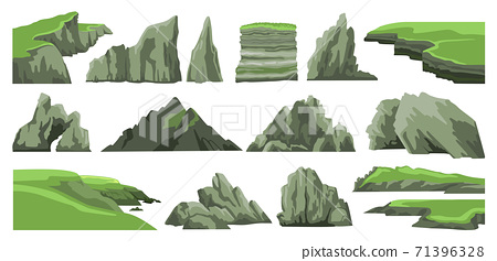 Set of rocks, hills, cliffs, mountains peaks and stones. 71396328