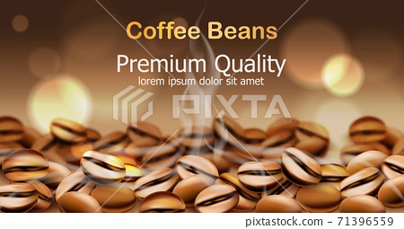 Premium quality coffee beans with smoke from them. Sparkling circles in background. Place for text 71396559