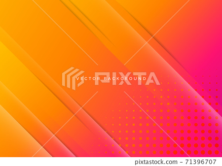 Abstract gradient pink and orange diagonal background with dots decoration. 71396707
