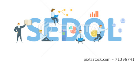 SEDOL, Stock Exchange Daily Official List. Concept with keywords, people and icons. Flat vector illustration. Isolated on white. 71396741