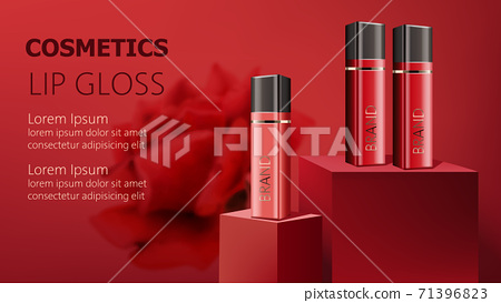 Three lip gloss containers on podiums. Realistic. 3D mockup product placement. Place for text 71396823