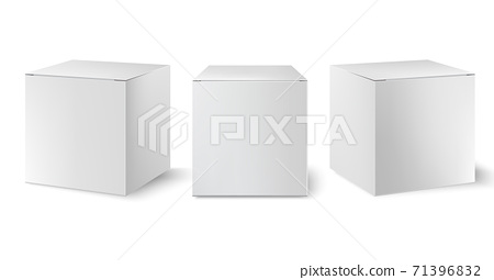 Set of three white boxes positioned at different angles. Realistic. 3D mockup product placement 71396832