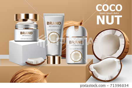 Deodorant and creams on podiums surrounded by whole and cracked open coconuts. Realistic. 3D mockup product placement. Place for text 71396834