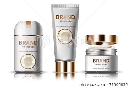 Set of deodorant and creams with coconut oil. Realistic. 3D mockup product placement. Place for text 71396836