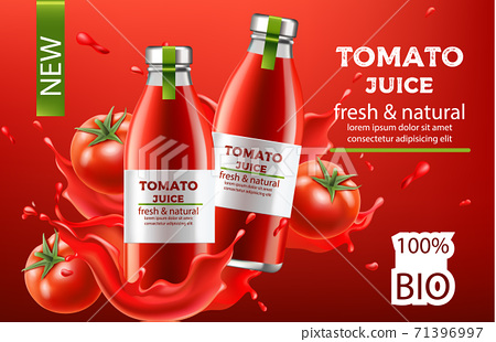 Composition, two bottles with fresh and natural bio juice submerged in flowing liquid and tomatoes. Place for text. Realistic 3D mockup product placement 71396997
