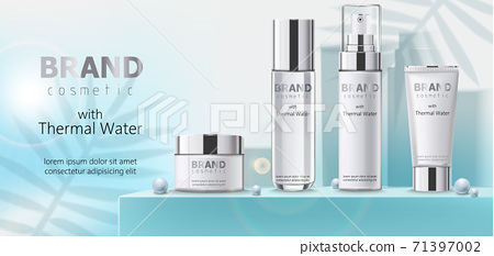 Composition of three containers with cosmetics, thermal water on teal podium with beads. Place for text. Realistic 3D mockup product placement 71397002