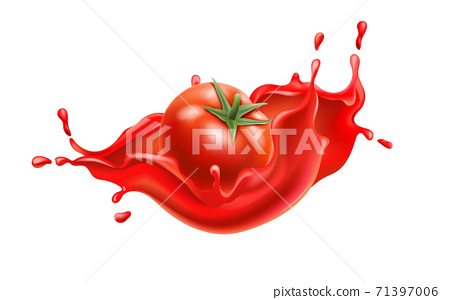 Composition of a tomato submerged in flowing red liquid. Realistic 3D 71397006