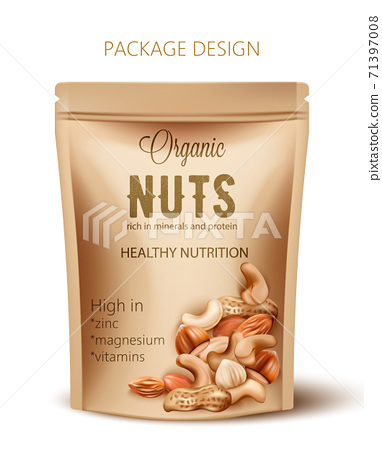 Package with organic nuts. Rich in minerals and protein. Healthy nutrition, high in zinc, magnesium and vitamins. Realistic 3D mockup product placement 71397008