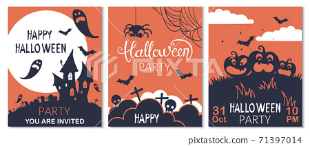 Set of halloween cards with carved pumpkins, spiders and bats. Party invitation 71397014