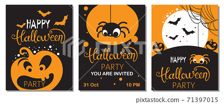 Set of halloween cards with carved pumpkins, spiders and bats. Party invitation 71397015