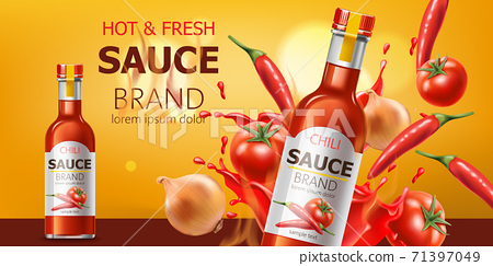 Two bottles with hot and fresh chili sauce, submerged in liquid, tomatoes, chili and onions. Place for text. Realistic 3D mockup product placement 71397049