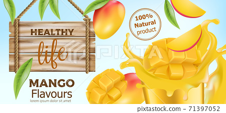 Natural whole and sliced mango with flowing juice around and a wooden sign near by. Product for healthy life. Place for text. Realistic 3D mockup product placement 71397052