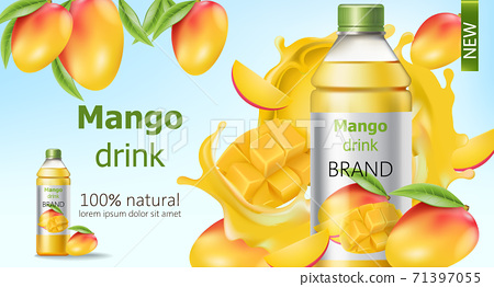 Bottle of natural mango drink surrounded by sliced and whole fruits and flowing juice. Place for text. Realistic 3D mockup product placement 71397055