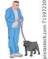 Joyful man dressed in blue walking out his black dog 71397230