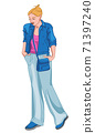 Sad woman dressed in blue and pink clothes holding her hand in the pockets 71397240
