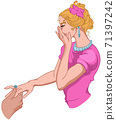 Joyful woman dressed in pink hides her smile while a man is putting a ring on her finger 71397242