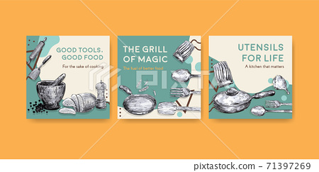 Ads template with kitchen appliances concept design for advertise vector illustration 71397269