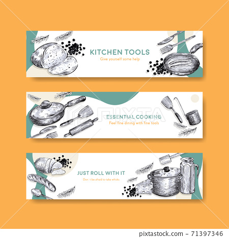 Banner template with kitchen appliances concept design for advertise vector illustration 71397346