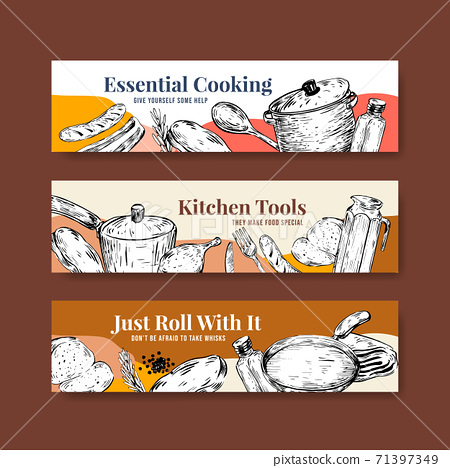 Banner template with kitchen appliances concept design for advertise vector illustration 71397349