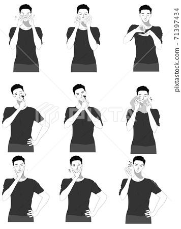 스킨 케어 젊은 남성의 일러스트 세트 흑백 71397434