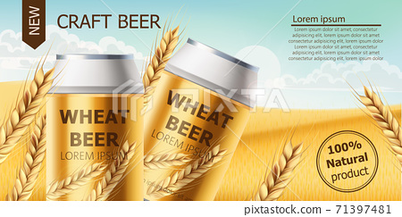 Two cans with craft beer in a field full of wheat grains. Blue cloudy sky. Realistic 3D mockup product placement. Place for text 71397481