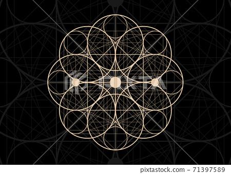 Seed of life symbol Sacred Geometry. Logo icon Geometric mystic mandala of alchemy esoteric Flower of Life. Holy trinity sign Vector vintage divine meditative amulet isolated on black background 71397589