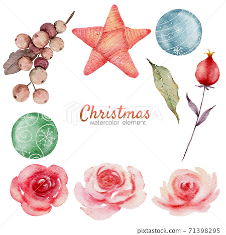 Christmas watercolor element hand painting isolated on white background 71398295