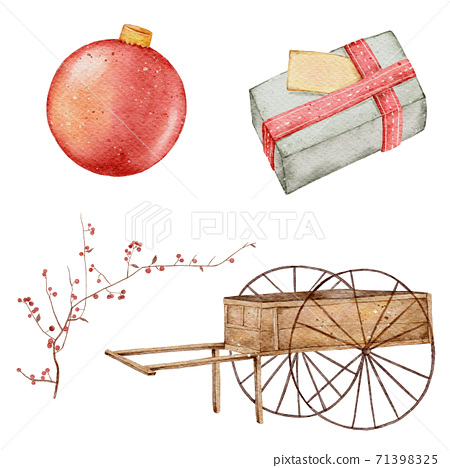 Christmas watercolor element hand painting isolated on white background 71398325