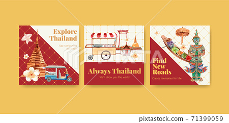 Advertise with Thailand travel concept design for marketing and business watercolor vector illustration 71399059