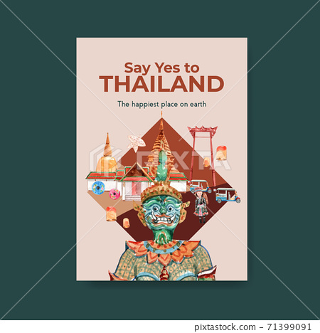 Poster with Thailand travel concept design for marketing and brochure watercolor vector illustration 71399091