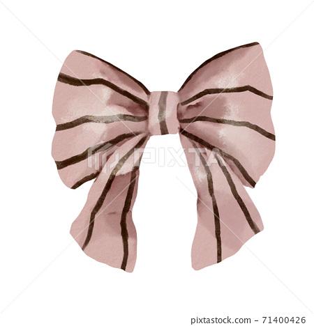 棕色條紋的粉紅色織物絲帶 71400426