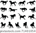 Black silhouettes of horses at a gallop on a white background 71401054
